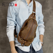 AETOO Crazy Horse leather retro casual men's chest bag personality head cowhide shoulder Oblique cross bag