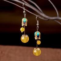 Korean temperament, long earrings, pendant accessories, Chinese folk style, earthy pendants, women's personality.