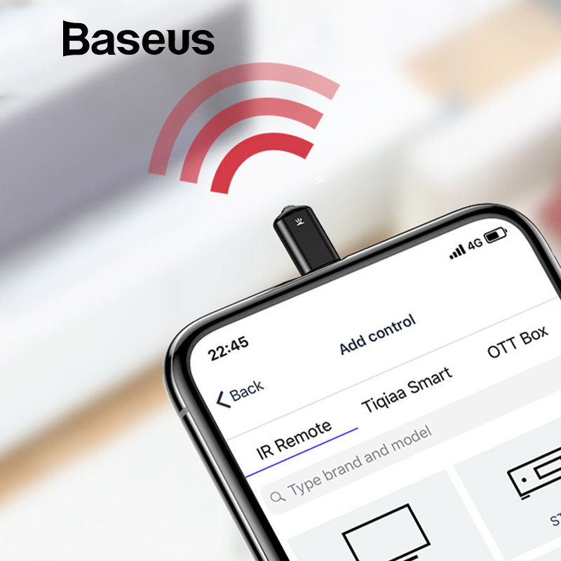 Baseus Universal infrared remote control for iPhone IR Wireless Smart Remote Control for TV Aircondition Upgraded Support iOS 12 baseus ir remote control for iphone x 8 7 samsung s9 s8 type c jack universal smart tv controller adapter not support ios 12