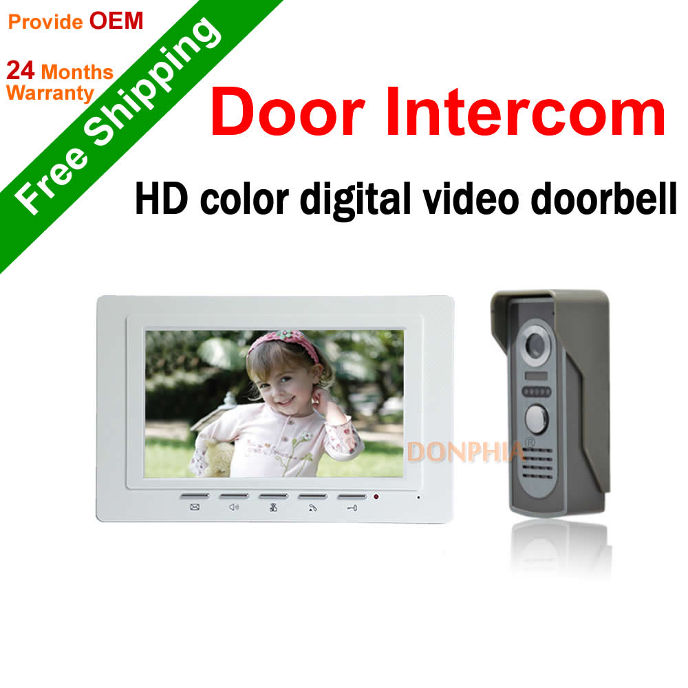 Doorbell Intercom 7 inch Video Door Phone Intercom system Camera Kit 1-camera 1-monitor Night Vision Wired waterproof doorbell