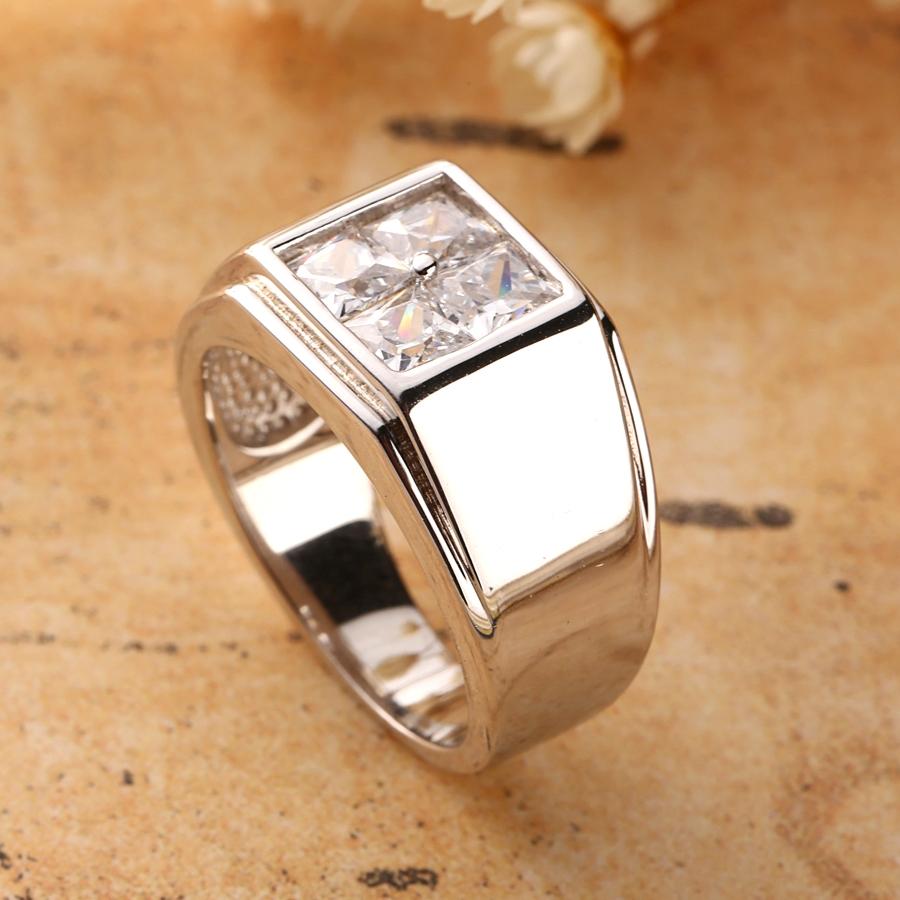 Father's Day Ring 925 Sterling Silver Men Rings Princess Cut Square CZ Zircon Stone Fine Male Jewelry For Dad Husband Or Boy