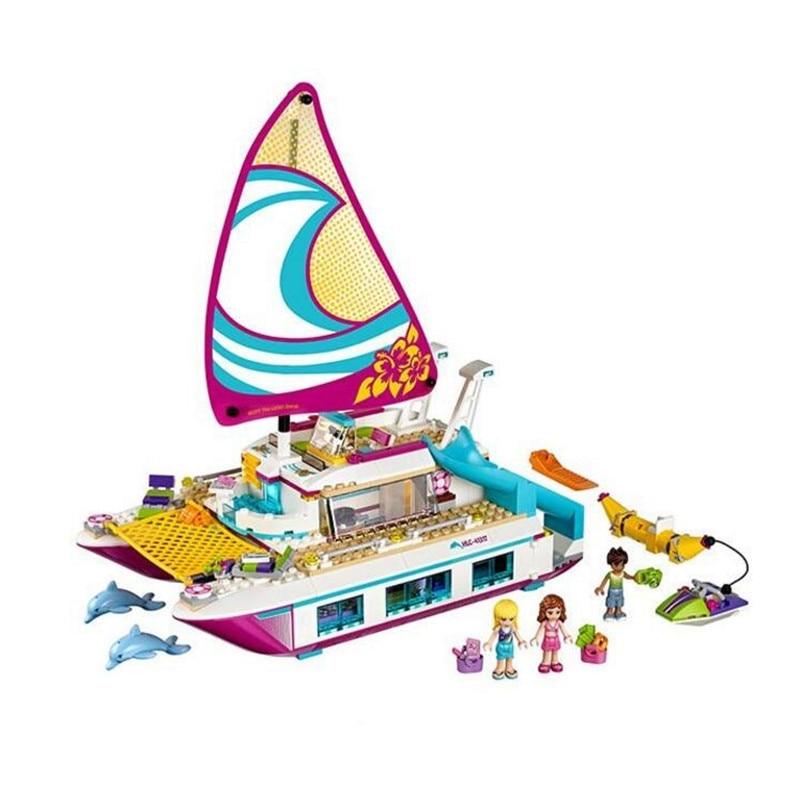 651pcs Friends Sunshine Catamaran Dolphins Olivia Stephanie Girl Building Block Compatible 41317 Brick Toy
