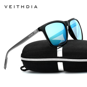 VEITHDIA العلامة التجارية للجنسين الرجعية الألومنيوم + TR90 النظارات الشمسية عدسات قطبية خمر نظارات اكسسوارات نظارات شمسية للرجال/نساء 6108