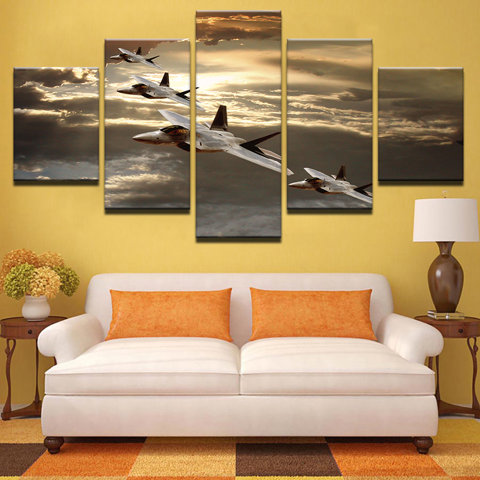 Canvas Art Printed Photo Modular Painting 5 Panels Aircraft Poster ...