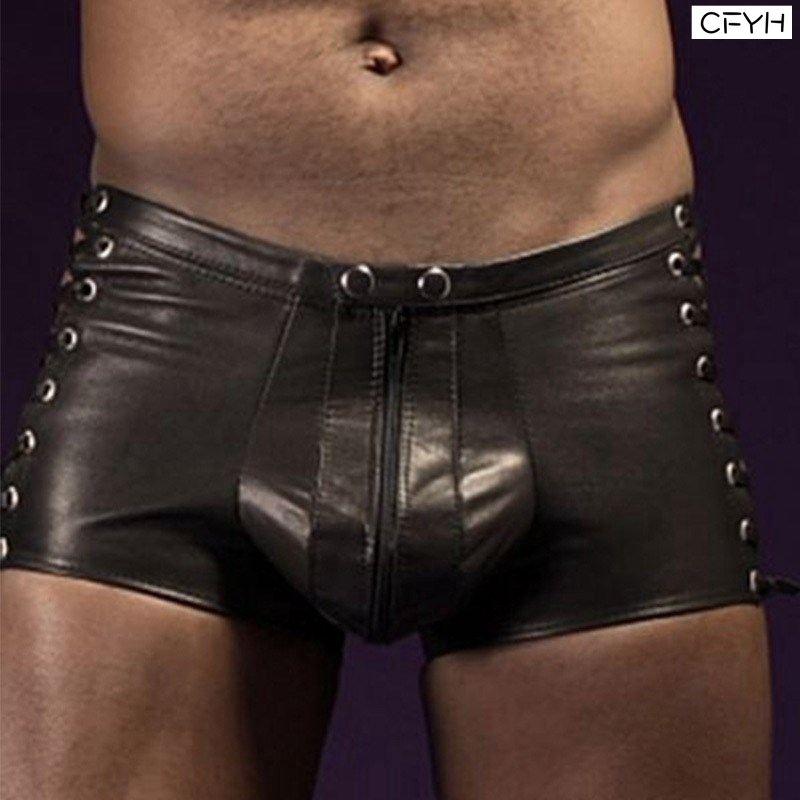 New Men Lingerie Patent Leather Boxer Shorts Underwear Underpants With O-Ring Sexy Leopard Male Boxer Underwear Men Boxer 3XL