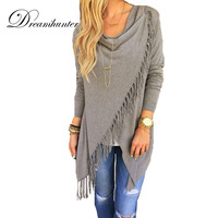 Tassel Slash Long Cardigans Tops Women Casual Loose Long Sleeve Irregular Hem Cardigan Cape Poncho Slim