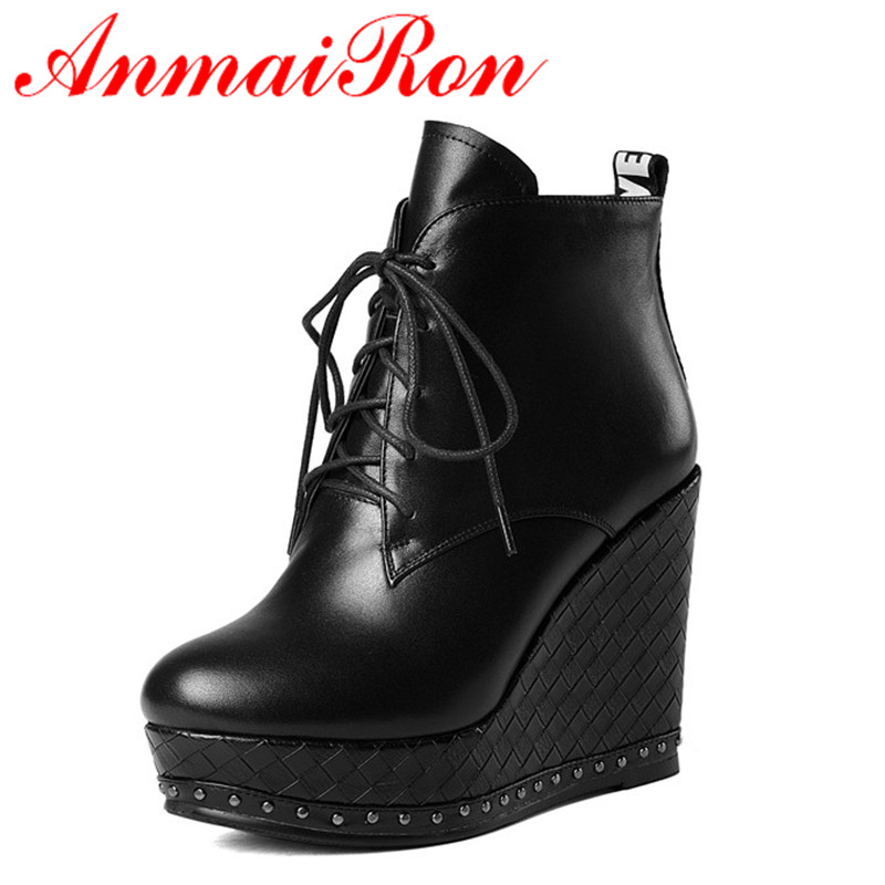 ANMAIRON Lace-up Mew Ankle Boots for Women High Heels Wedges Size 34-39 Round Toe Autumn and Winter Boots Platform Shoes Riding akexiya 2017 new wedges boots fashion flock women s high heeled platform ankle boots lace up high heels spring autumn shoes