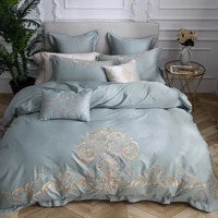 6f6fa89ee9 100 Long Staple Cotton Satin Luxury White Hotel Bed Linen Embroidery  Luxurious Bedding Set Duvet. 100% Longa staple algodão roupa de cama ...