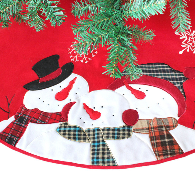Christmas Tree Skirt 45 Inches In Diameter Embroidered Time Is Family Snowman