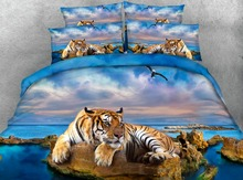 Royal Linen Source 4 Parts Per Set Bed Sheet Set Magnificent Tiger relaxing on rocky beach HD Digital 3d animal bed set