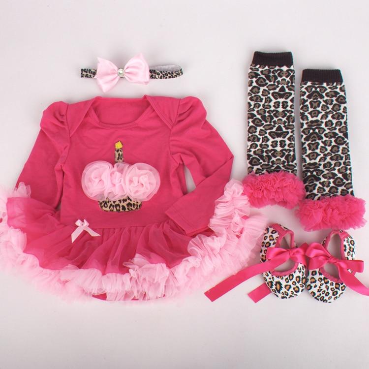 [Bosudhsou.] MC-1 Newborn Baby Girl Clothes Brand 4Pcs Children Clothing sets Tutu Romper Roupas De Bebe Infant Newborn Baby Set