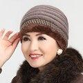Ventas calientes de Punto de Terciopelo Moda de Invierno Sombrero Mujeres Sombrero Caliente Skullies Gorros Mujeres Gorros Casquillo Del Sombrero de Color Puro Envío de La Gota