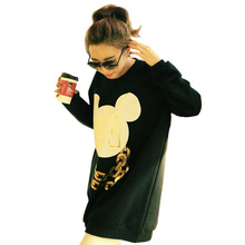 Causal Women Hoodies Cartoon Pattern Black Top Pullovers O-Neck Girls Sweatshirts hoodie sudaderas mujer moleton feminina 856