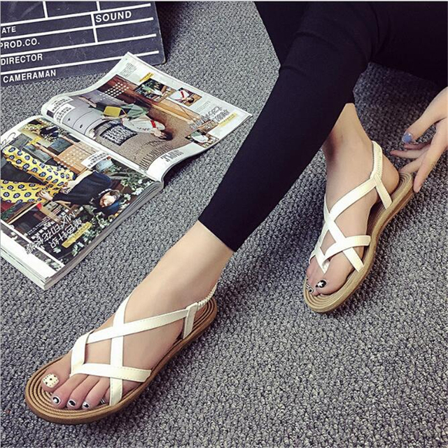 POADISFOO 2017 New  fashion summer pu cross S sandals soft  comfy  women's  flat with beads  For Women .HYKL-8819-1