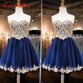 2016 Moda Curto do Regresso A Casa Vestidos A-line vestido de 15 años curto Bonito Curto de Festa vestido de formatura Azul Marinho h71