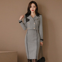 new arrival fashion slim skirt suits plaid temperament fresh short suit and sexy pencil skirt comfortable OL women skirt suits