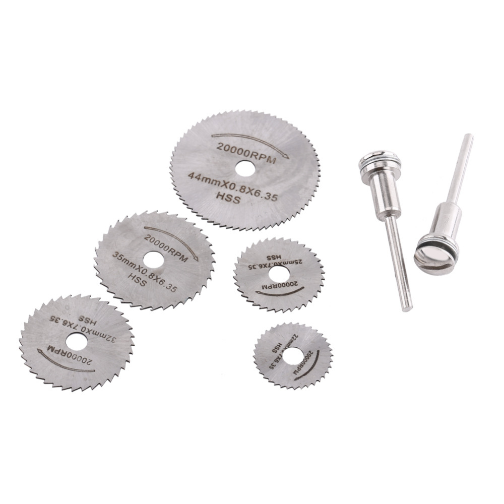 6/7pcs Portable HSS Circular Saw Blades Rotary Tools For Metal Cutter Wood Cutting Discs Mandrel Tools With Rods Power Tools