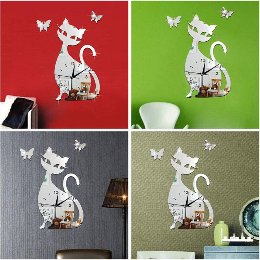 diy new wall clock cat modern design self adhesive 3d wall clock children for bedroom silentl mirror quartz watch sticker klok (4)