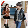 Female child leather clothing outerwear 2016 autumn motorcycle PU clothing medium-large child short design jacket girl