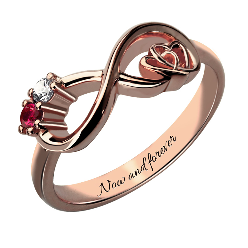 AILIN Customized Heart in Heart Rose Gold Color Infinity Birthstone Ring Engraved Promise Ring Couples Birthstone Ring caged heart locket infinity ring sterling silver birthstone ring engraved infinity ring mother s gift for grandma