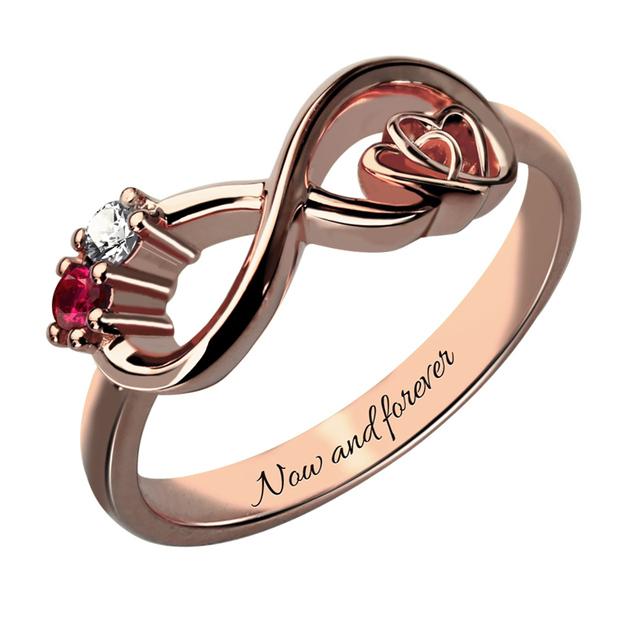 Customized Heart in Heart Rose Gold Color Infinity Birthstone Ring