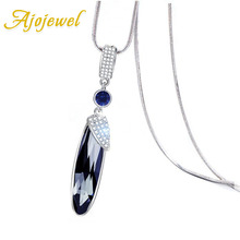 Ajojewel Crystal Pea Pods Design Necklace Women Korean Costume Jewelry Sweater Chain Fashion Accessories Wholesale