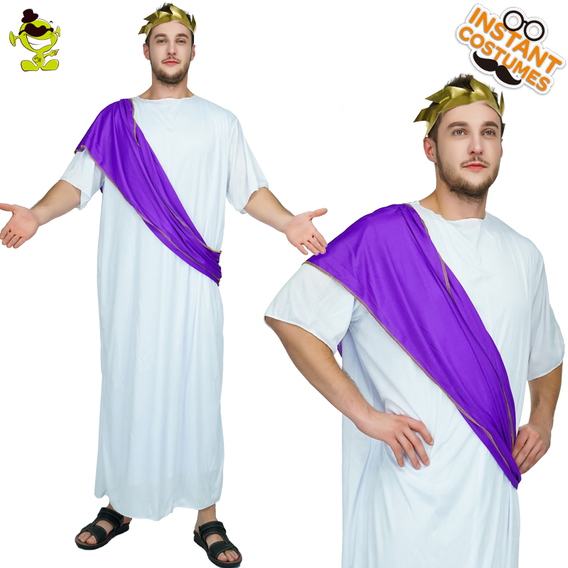 Mens Roman Noble Costume Cheap Roman Adult Noble Greek White Toga Ceasar Men Empire Imperial sexy movie Caesar Emperor Costumes image