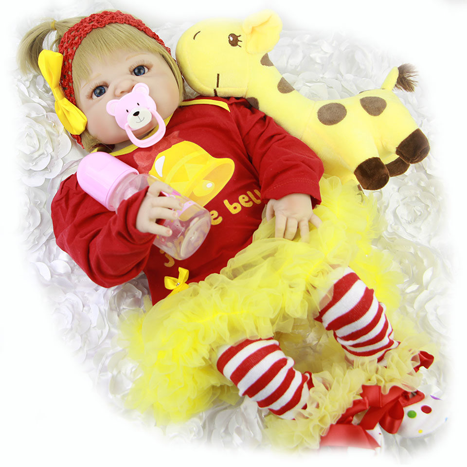 New 23'' Full Body Vinyl Reborn Baby Dolls Toy For Girl Children's Day Realistic Lifelike 57 cm Babies Doll Wear Red Clothes lifelike american 18 inches girl doll prices toy for children vinyl princess doll toys girl newest design