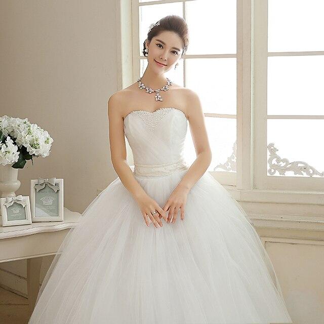 2017 New Arrival Real Photo Plus size Strapless Pearls White Princess Wedding Dresses Cheap Bride Frock Vestidos De Novia HS103 4