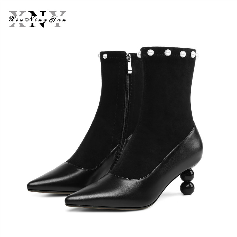 XiuNingYan Brand Genuine Leather Sexy Women Ankle Boots Thin Heels Shoes Pointed Toe Slip on Footwear Female Autumn Boots Woman
