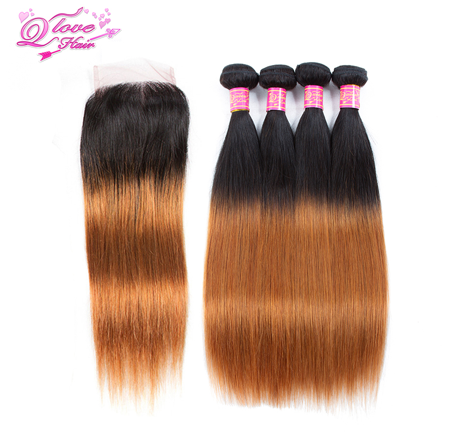 Queen Love Hair Brazilian Hair Extensions Pre Colored Straight 4 Bundles With Closure T 1B 30 Ombre Non Remy Hair  Extension-in 3/4 Bundles with Closure from Hair Extensions & Wigs    1