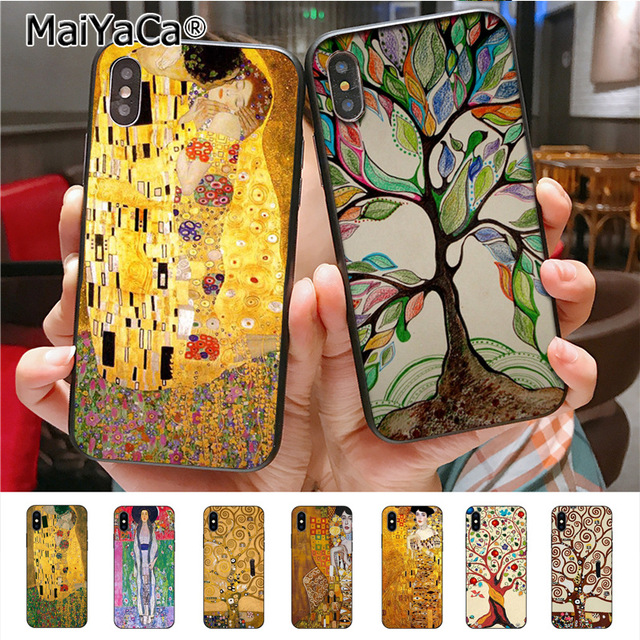 e2cf6954b MaiYaCa Gustav Klimt Tree Life kiss Colored Drawing black soft tpu phone  Case for Apple iPhone X 8 7 6 6S Plus 5 5S SE 5C cass