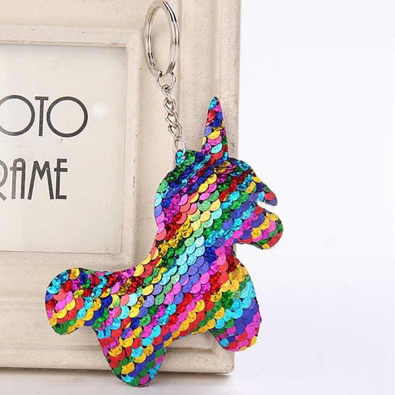 Модная Русалка Блестки животных брелок в виде лошади многоцветный блестящий брелок для ключей с единорогом женские брелоки Автомобильный мешок кулон ювелирные изделия