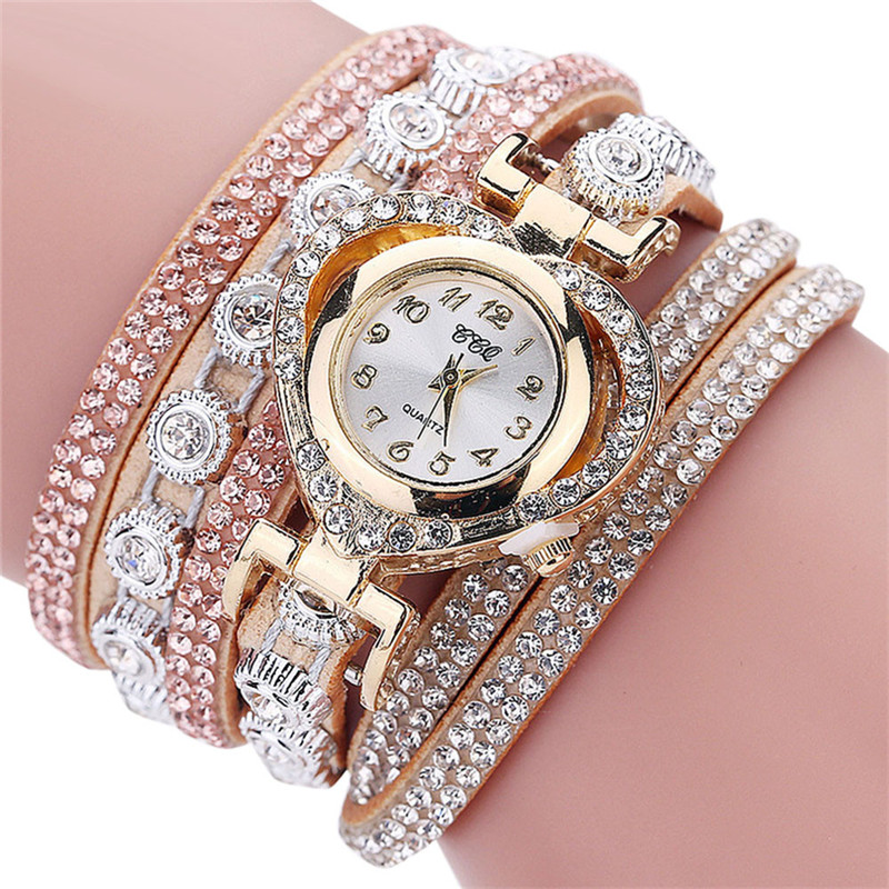 CCQ 2018 New Fashion Casual Quartz Women Vintage Rhinestone Watch Leather Bracelet Dial Watch Relogio Feminino Gift For Love  #D