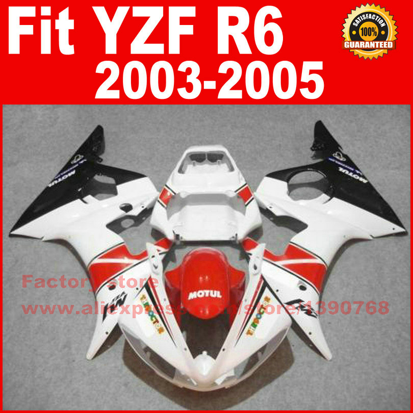 ABS Road/racing motorcycle fairings kit for YAMAHA R6 2003 2004 2005 YZF R6 03 04 05 red white fairing kits