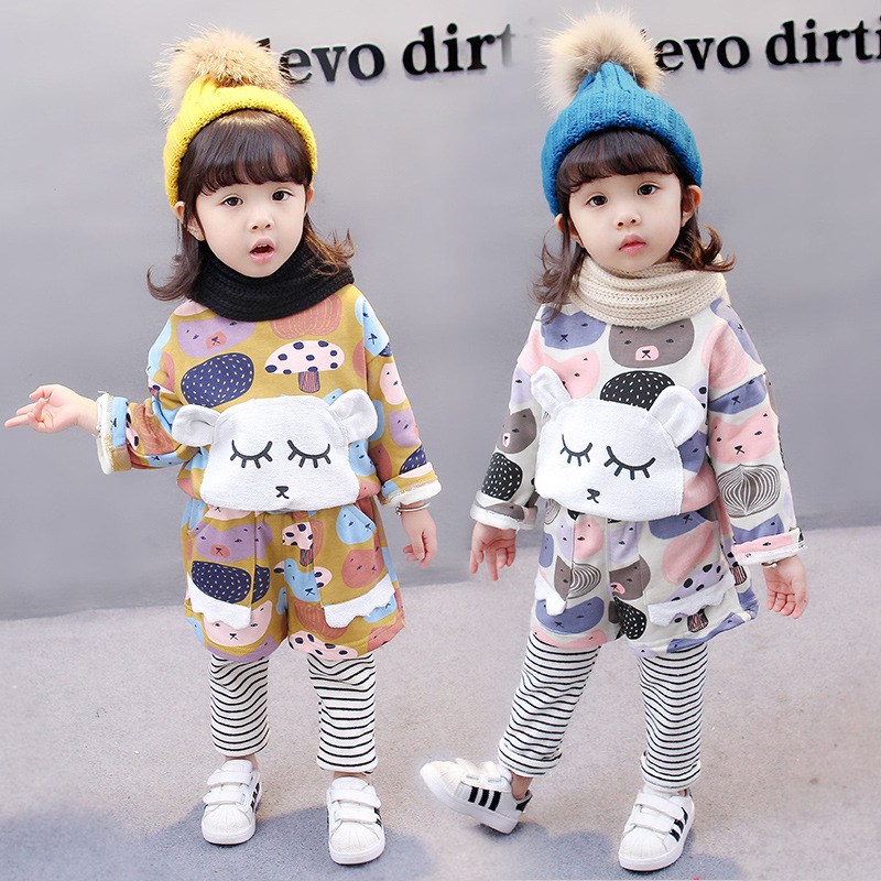 565c44dda 2018 autumn and winter children Warm suit Two pieces set Baby ...