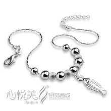 2014 solid genuine 925 sterling silver beads fish anklet