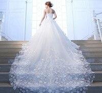Индивидуальный заказ 2018 Элегантные линии платья для Свадебное Платье de Noiva Casamento Тюль Ручные цветы; Robe De Mariage свадебные платья