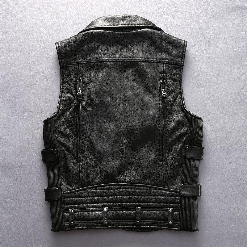 superkvalitativ För cool Harley rider Mens ko läderväst äkta - Herrkläder - Foto 3