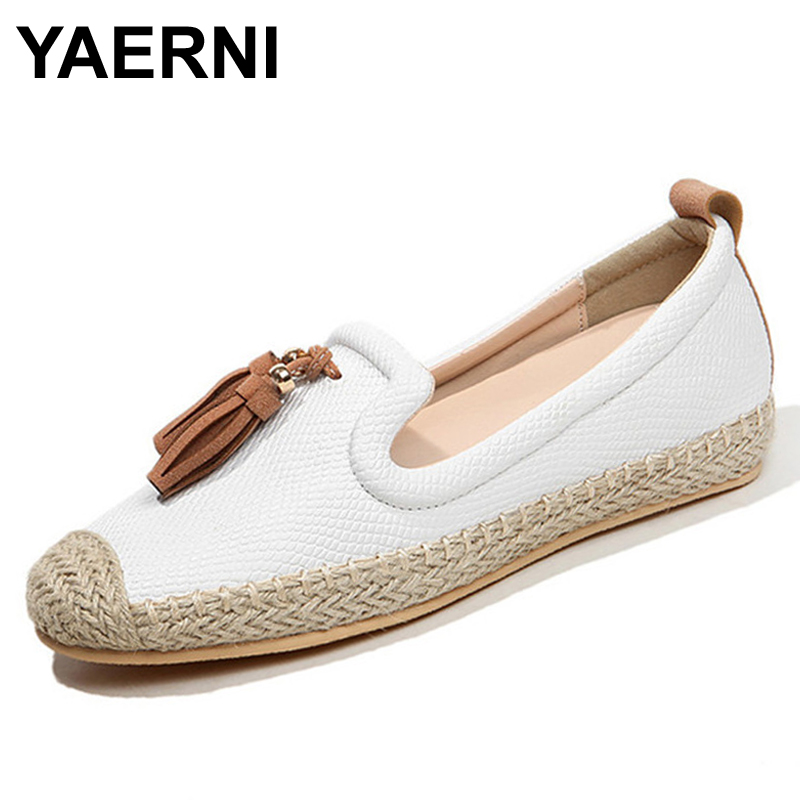 YAERNI Women Casual Shoes Female Genuine Leather Loafers Shoes Woman Fashion Slip On Breathable Flats Shoes For Girls Size35-40 whensinger 2017 woman shoes female genuine leather flats slip on summer fashion design f927