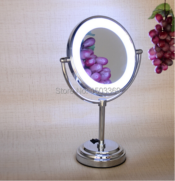 Bath Mirror 8 inch Brass 3X/1X Double face Desktop Magnifying Mirror Led Mirror Folding Makeup Mirror Cosmetic Mirror Lady Gift free shipping 9wall mounted round 3x 1x magnifying bathroom mirror led makeup cosmetic mirror lady s private mirror bm003