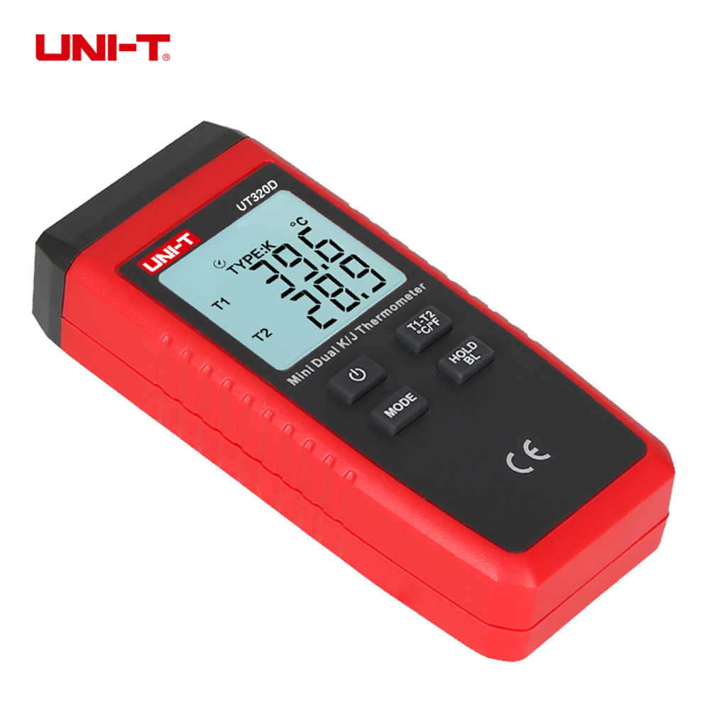 UNI T UT320D Mini Contact Type Thermometer Dual Channel K J Thermocouple Temperature Meter With LCD