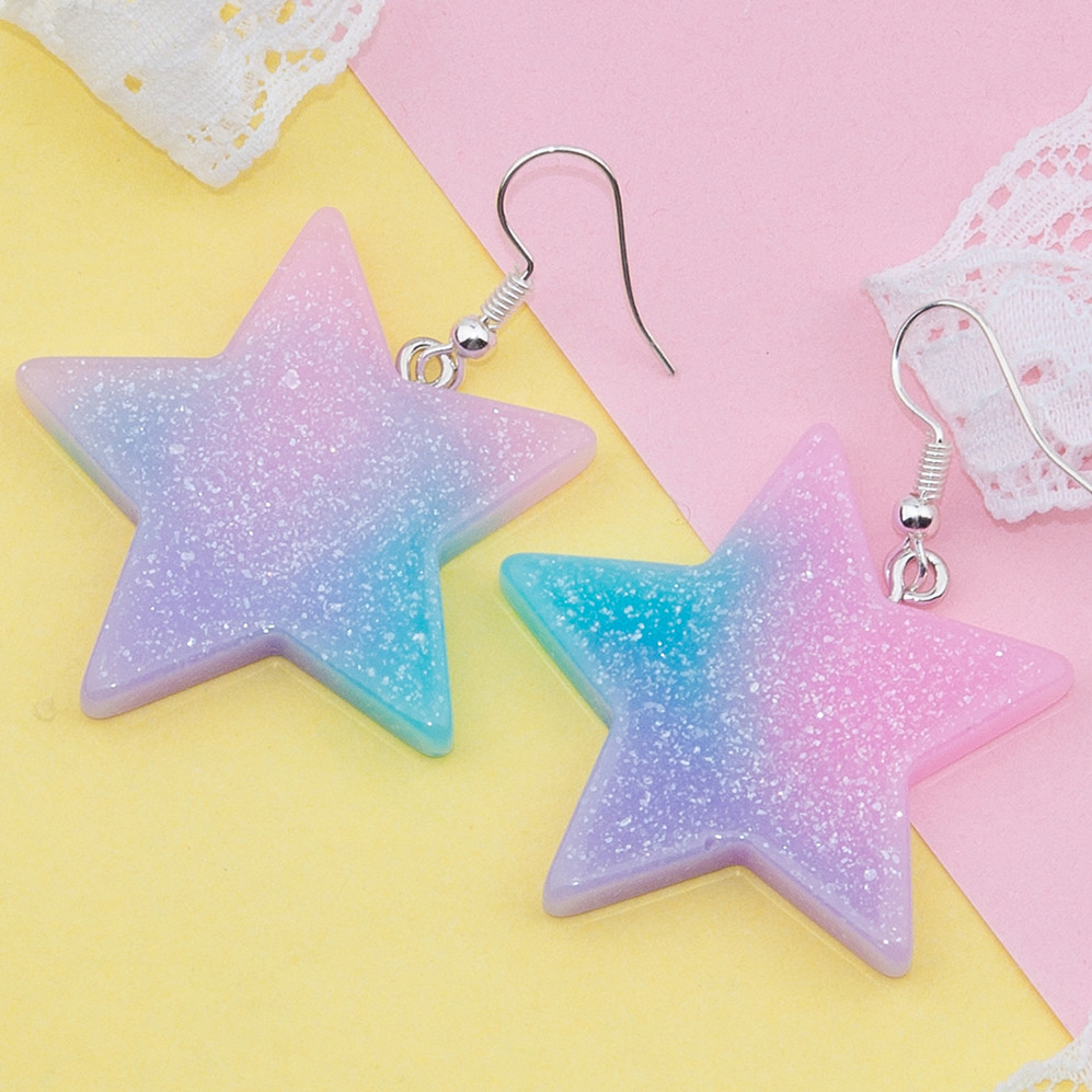 DoreenBeads 2017 New Resin Earrings Glitter Pentagram Star Drop Earrings For Woman Girls Summer Chic Jewelry 52mm X 38mm, 1 Pair
