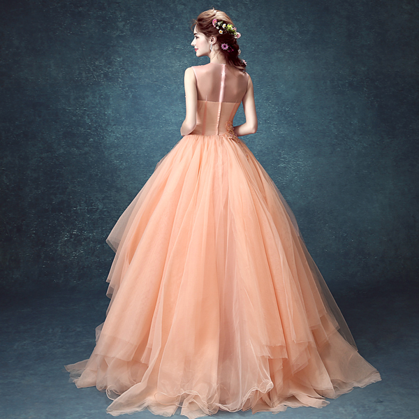 Light Salmon Pink Flower Beading Veil Gown Meval Dress Renaissance Cosplay Victoria Gothic Marie Antoinette Belle Ball In Costumes From