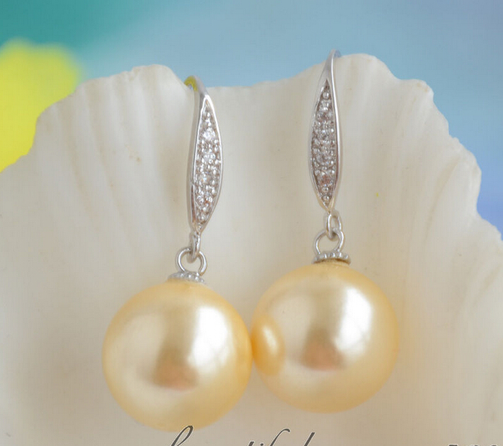 Womens Wedding 14MM ROUND GOLD SOUTH SEA SHELL PEARL DANGLE EARRING JEWERLY (Z6538) real silver jewelry earrings