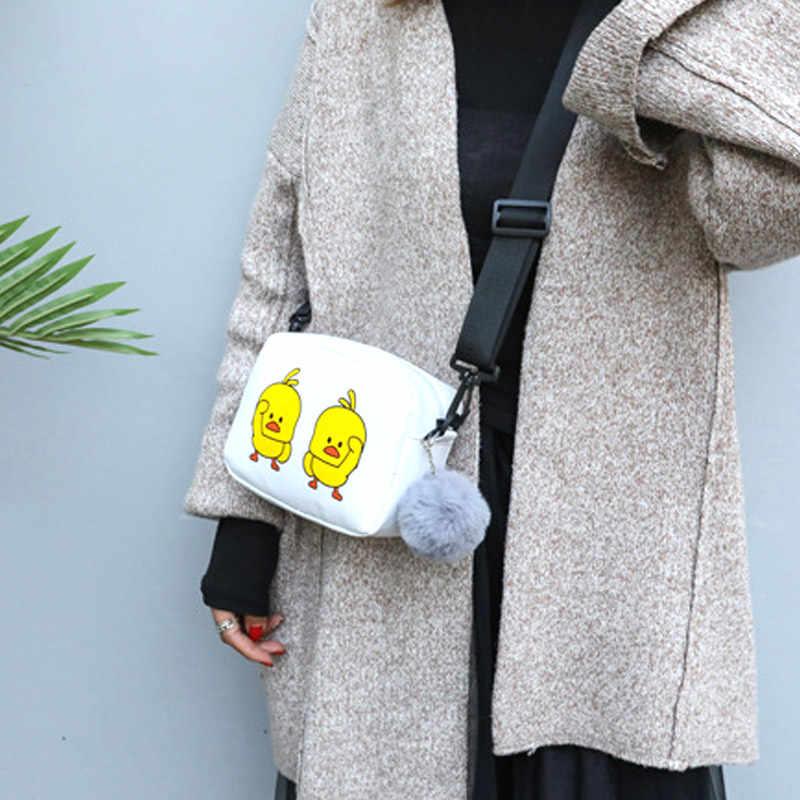 1 Pcs Wanita Bahu Tas Selempang Kuning Bebek PU Kulit untuk Ponsel Uang MSJ99