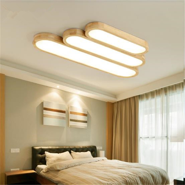 puzzle led ceiling lamps strip wood lamp bedroom living room lights nordic creative log japanese tatami - Ceiling Lamps For Living Room