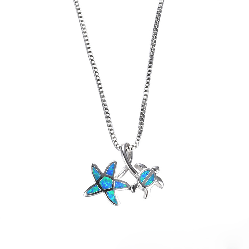 925 Tortoise Starfish Blue Opal Pendant Necklace Women Sterling Silver Jewelry Accessories New Pattern Design Sweater Chain