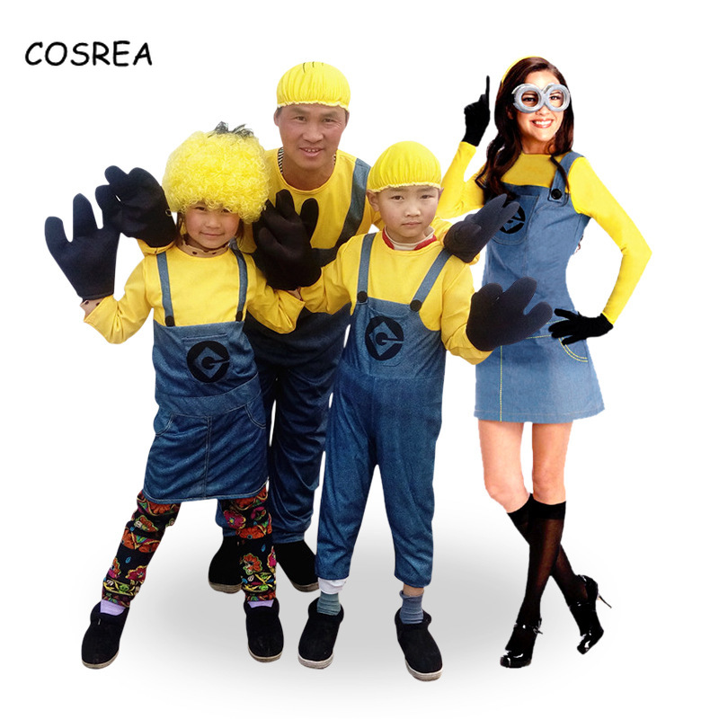 Movie Despicable Me Cosplay Costume Minion  Jumpsuits Cute Glasses Party Halloween Clothes for Adults Women and Men Children