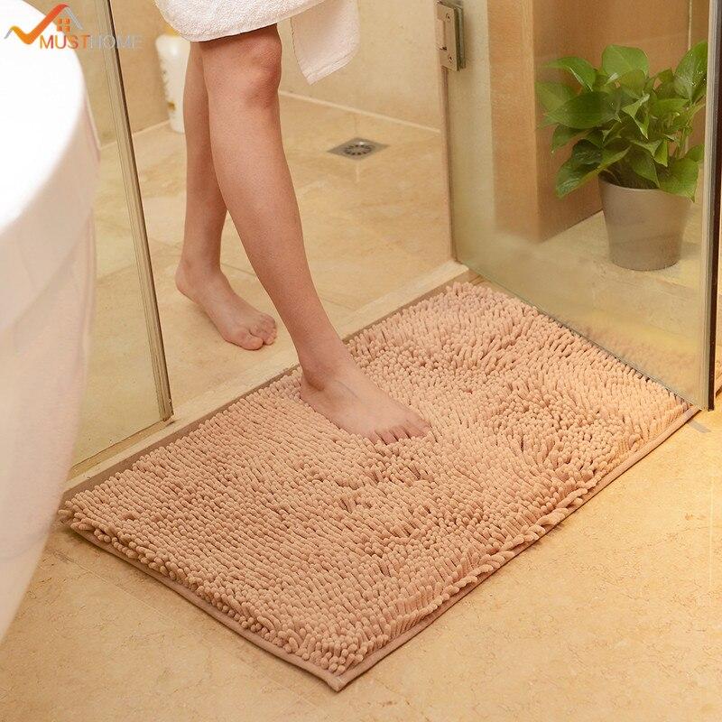 "Can Bathroom Rugs Be Washed: 50X80cm/19""x31"" Microfiber Chenille Bathmats Bathroom"